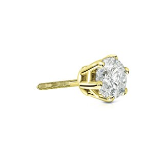 Auriya 14k Gold 1/3ct TDW 6 Prong Screw Back Round Diamond Single Stud Earring