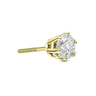 Auriya 14k Gold 1/2ct TDW 6-Prong Screw-Back Round Diamond Single Stud Earring (J-K, I2-I3)