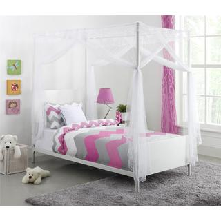 DHP Canopy Twin White Metal Bed