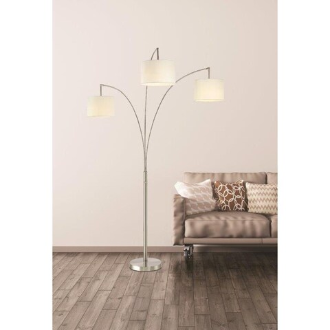 Artiva USA Lumiere Modern LED 3-arched Brushed Steel 80-inch Floor Lamp with Dimmer