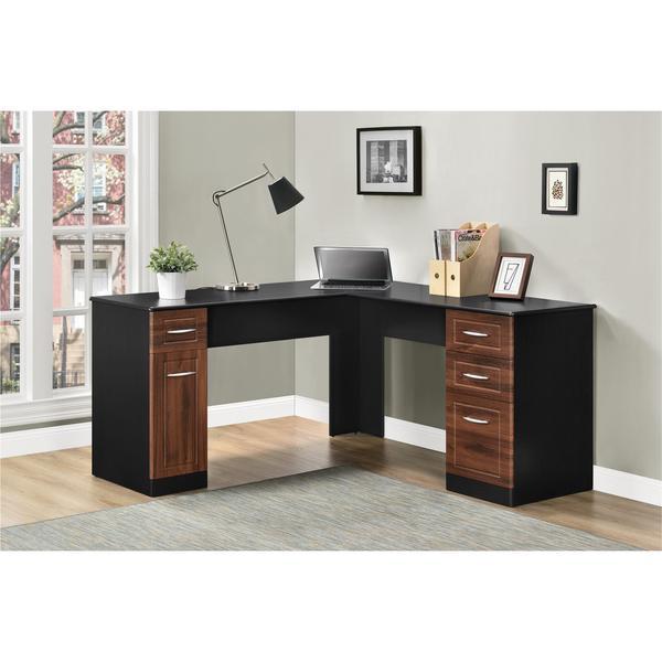 Altra Avalon Cherry/ Black L-Desk - Free Shipping Today - Overstock