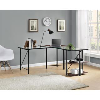 Altra Cruz Cherry/ Black Glass Top L-Desk