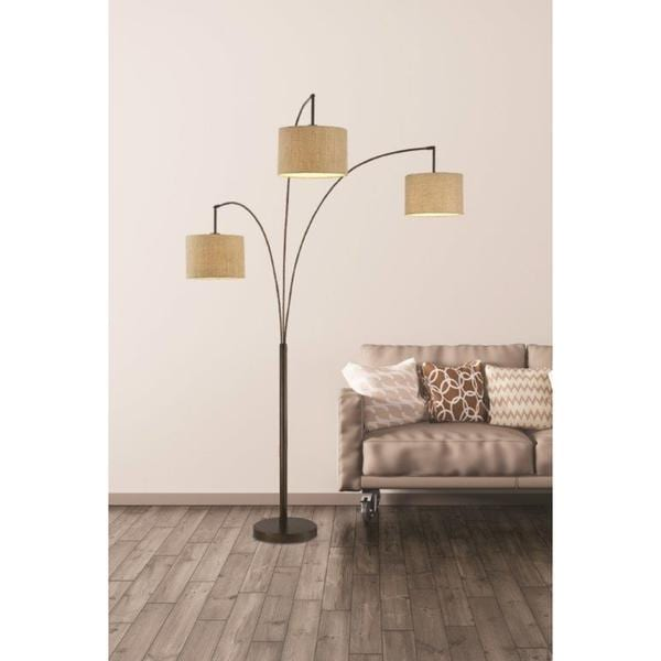 Artiva USA Lumiere Modern Antique Bronze LED 80 Inch 3 Arched Floor Lamp  With