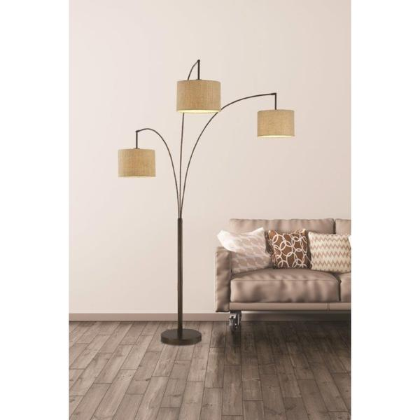 Artiva USA Lumiere Modern Antique Bronze LED 80-inch 3-arched Floor Lamp with Dimmer