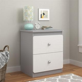 Altra Willow Lake Light Slate Grey/ White Nightstand with Drawers by Cosco