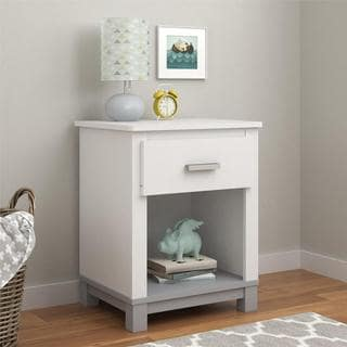 Altra Leni White/ Light Slate Grey Nightstand by Cosco