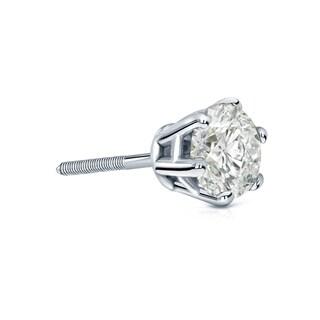 Auriya 14k Gold 3/4ct TDW 6 Prong Screw Back Round Diamond Single Stud Earring