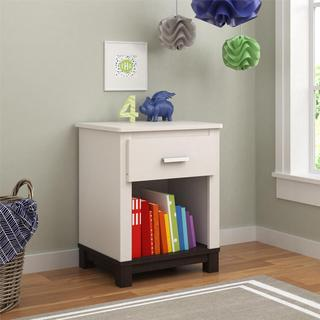 Altra Leni White and Coffee House Plank Nightstand by Cosco
