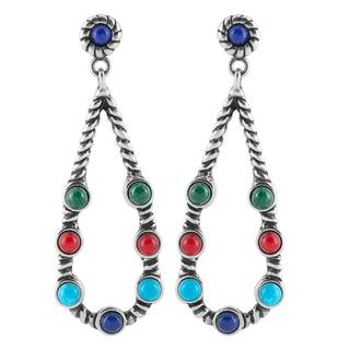 Sterling Silver Multi-Stone Earrings