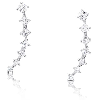 Dolce Giavonna Sterling Silver Graduated Cubic Zirconia Crawler Earrings