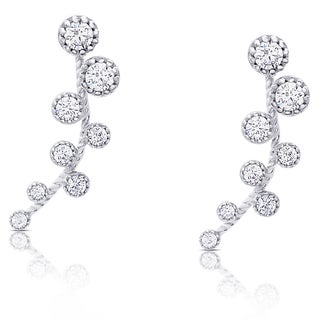 Samantha Stone Sterling Silver Graduated Cubic Zirconia Crawler Earrings