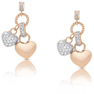 Samantha Stone Rose Gold Over Sterling Silver Cubic Zirconia Double Heart Dangle Earrings