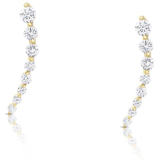 Dolce Giavonna Sterling Silver Cubic Zirconia Graduated Crawler Earrings