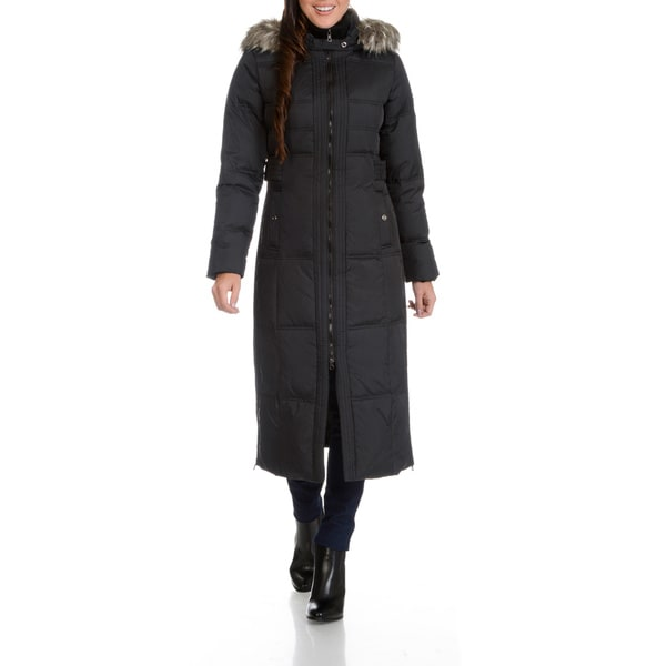 76474553668 Shop Larry Levine Women s Maxi Down Faux Fur Trimmed Hood Coat ...