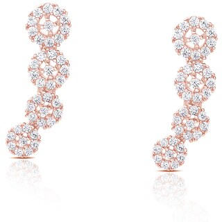 Samantha Stone Sterling Silver Cubic Zirconia Graduated Crawler Earrings