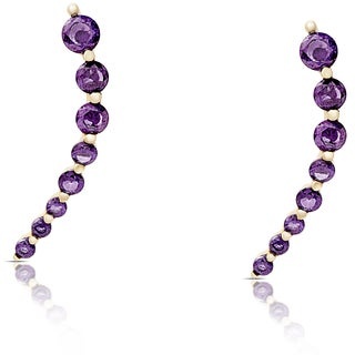 Dolce Giavonna Gold Over Sterling Silver Graduated Simulated Amethyst Crawler Earrings