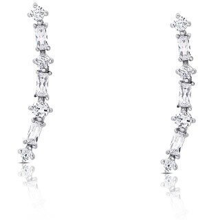 Samantha Stone Sterling Silver Cubic Zirconia Crawler Earrings