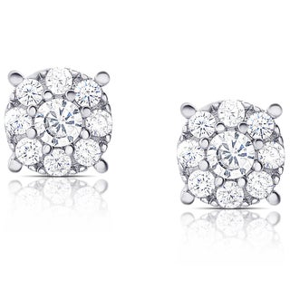 Samantha Stone Sterling Silver Cubic Zirconia Halo Stud Earrings