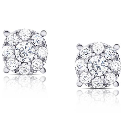 Samantha Stone Sterling Silver Cubic Zirconia Halo Stud Earrings