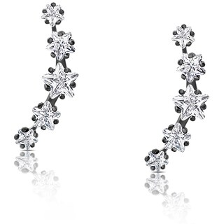 Samantha Stone Sterling Silver Cubic Zirconia Graduated Star Crawler Earrings
