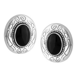 Sterling-silver Onyx Concho Earrings