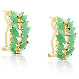 Dolce Giavonna Gold Over Sterling Silver Emerald Leaf Design Half Hoop Earrings