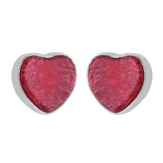 Sterling Silver Red Coral Heart Earrings