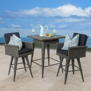 Christopher Knight Home Puerta Outdoor 3-piece Wicker Dining Bar Set with Cushions