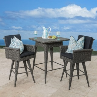 Puerta Outdoor 3-piece Wicker Dining Bar Set with Cushions by Christopher Knight Home