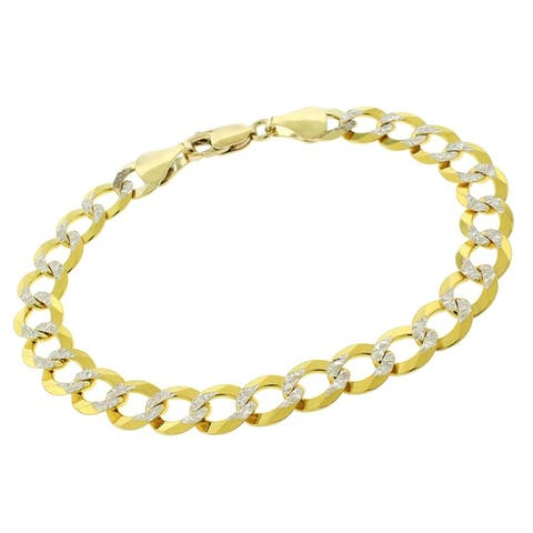 "Authentic 14k Yellow Gold 8.5mm Solid Cuban Curb Link Diamond-Cut Two-Tone Pave Necklace Chain 8"", 8.5"", In Style Designz"