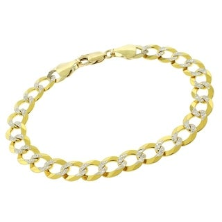 14k Yellow Gold 8.5mm Cuban Curb Link Diamond Cut Chain Bracelet
