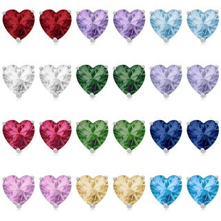 Fremada Rhodium Plated Sterling Silver with Cubic Zirconia or Glass Heart Birthstone Earrings (More options available)
