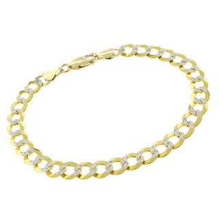 "14k Yellow Gold 7mm Solid Cuban Curb Link Diamond Cut Two-Tone Pave Bracelet Chain 8"", 8.5"""