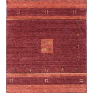 eCarpetGallery Hand-Knotted Luribaft Gabbeh Riz Red Wool Rug (8'3 x 9'9)