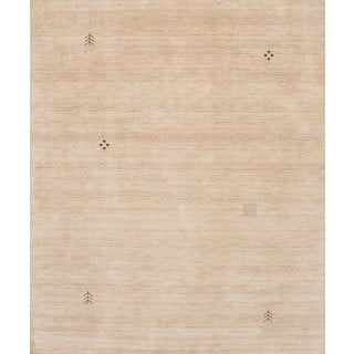 eCarpetGallery Luribaft Gabbeh Riz Ivory Wool and Cotton Hand-knotted Area Rug (8'2 x 9'10)