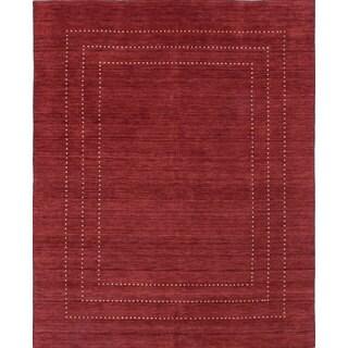 eCarpetGallery Luribaft Gabbeh Red Hand-Knotted Riz Wool Rug (8'0 x 10'0)