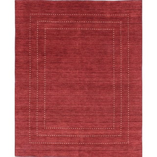 eCarpetGallery Hand-Knotted Luribaft Gabbeh Riz Red Wool Rug (7'9 x 9'11)