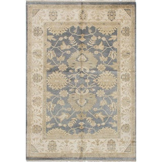eCarpetGallery Royal Ushak Blue Wool Hand-knotted Rug (6'2 x 9'0)