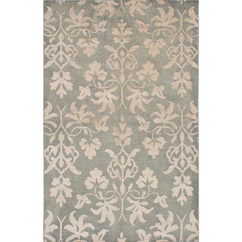 Hand-knotted La Seda Green Silk, Wool Rug