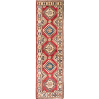 eCarpetGallery Gazni Ivory/Red Wool Hand-knotted Rug (2'8 x 10')
