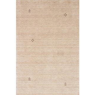 eCarpetGallery Luribaft Gabbeh Riz Ivory Wool Hand-Knotted Rug (6' x 9')
