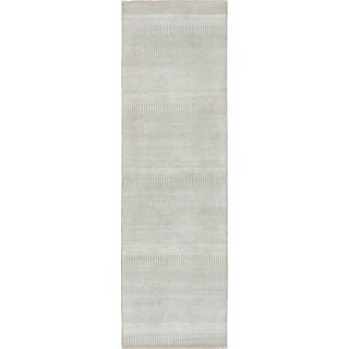 eCarpetGallery Bamboo-Shevra Green Hand-knotted Wool/Bamboo silk Rug (2'7 x 8'11)