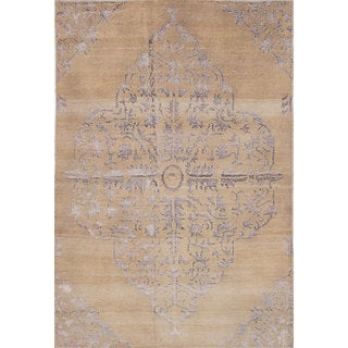 eCarpetGallery Hand-Knotted La Seda Yellow Wool and Art Silk Rug (5'5 x 8'0)