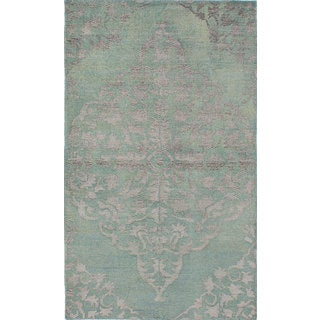 eCarpetGallery La Seda Blue Wool and Art Silk Hand-Knotted Rug (4'11 x 8'3)