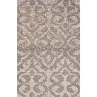 eCarpetGallery Hand-Knotted La Seda Ivory Wool and Art Silk Rug (5'1 x 7'11)