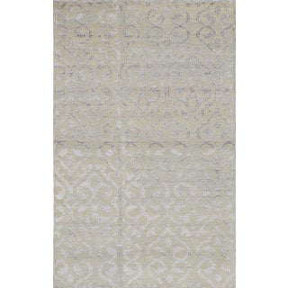 eCarpetGallery La Seda Green Wool and Art Silk Hand-knotted Rug (5'0 x 8'0)