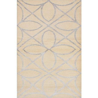 eCarpetGallery Hand-knotted La Seda Ivory Wool and Art Silk Rug (5'1 x 7'10)