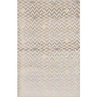 eCarpetGallery La Seda Ivory Wool and Art Silk Hand-Knotted Rug (5'1 x 7'10)