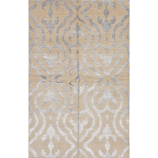 eCarpetGallery La Seda Yellow Wool and Art Silk Hand-Knotted Rug (5'0 x 7'11) - 5'0 x 7'11