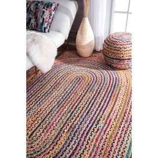 nuLOOM Casual Handmade Braided Cotton Jute Multi Oval Rug (5' x 8' Oval)